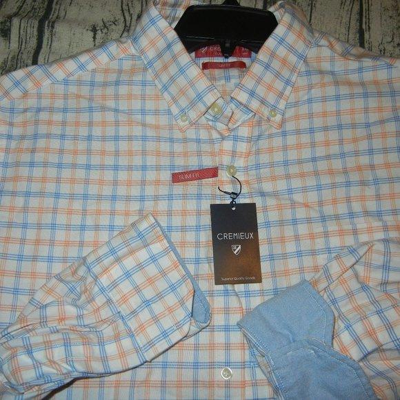 Cremieux Orange Blue Plaid Button Down - XXL